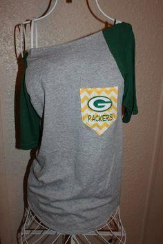 Green Bay Packers Pocket OfftheShoulder Shirt by SewSnazzybyBrook Packers Gear, Green Bay Packers Shirts, Packers Baby, Go Packers, Packers Football, Greenbay Packers, Football Season, Football Team, Nfl Fans
