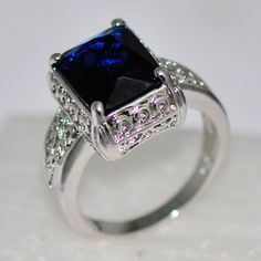 Size 6/7/9/10 Vintage Blue Sapphire Ring Women's 10KT White Gold Filled Jewelry #Unbranded #Journey