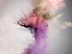 Fireworks for the daytime, made of different pigment powders. By http://www.marcelchrist.com/