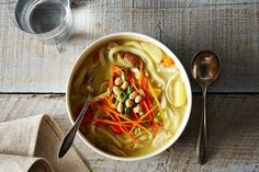 Massaman-Inspired Chicken Noodle Soup recipe: This dish is sort of a fusion between Massaman curry and chicken noodle soup.
