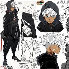 A new work in progress concept sheet idea of a character I wanted to make for a . A new work in progress concept sheet idea of a character I wanted to make for a while but it took awhile for m Black Anime Characters, Fantasy Characters, Manga Characters, Illustrator Design, Character Drawing, Boy Character, Male Character Design, Character Concept Art, Character Ideas