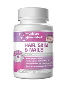 Physician Formulated Healthy Hair Skin and Nails Vitamins for Men & Women - 7500 mcg Biotin, Amino Acids, Collagen and Hyaluronic Acid. Full Two Month Supply.