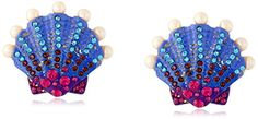 """Betsey Johnson """"Into The Blue"""" Seashell Button Stud Earrings For more details, please visit http://girlyuniverse.com"""