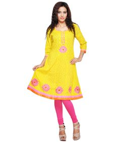 A traditional powerhouse that packs a punch, sounds like our edit of casual summer kurtis. These ethnic numbers go well with leggings or denims. From bright summer hues to ice-cream colors, these kurtis spell elegance and accentuate your curvaceous figure. So, come take a look at our rich designs and prints and take your pick. We guarantee you'll still be turning heads in this Indian attire.BRAND: PaisleiCATEGORY: KurtiCOLOUR: YellowMATERIAL: Cotton Jacquard