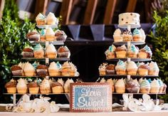 Cupcake Tower - and, the sign is so appropriate. Floral Wedding Cakes, Cool Wedding Cakes, Wedding Cake Designs, Wedding Cupcakes, Wedding Cake Toppers, Floral Cake, Purple Wedding, Gold Wedding, Tennessee Wedding Venues