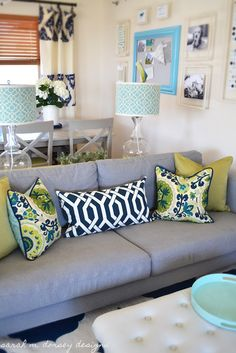 Sofa Pillows - love the idea of backing each pillow with a different fabric. I would sub the trellis print with Waverly Lovely Lattice in Lapis.