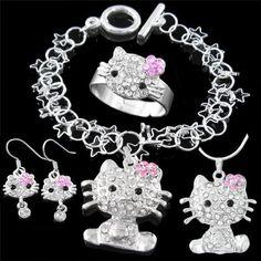 8d697ef83 Fashion Jewelry ~ Silvertone Hello Kitty Kid's Jewelry Set (Necklace  Bracelet Earrings Ring) Variety