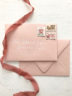 Baby pink nude envelopes with personalised address lettering for sweet classic romantic wedding invitations Calligraphy Envelope, Modern Calligraphy, Invites, Wedding Invitations, Pink Envelopes, Powder Pink, Place Card Holders, Nude, Romantic