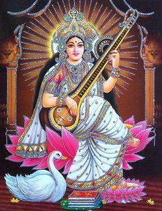 Goddess Saraswathi is the Hindu goddess of education, music, arts, knowledge and learning. Find a good collection of Goddess Saraswati images & wallpapers. Saraswati Photo, Saraswati Mata, Saraswati Statue, Saraswati Goddess, Durga Images, Lakshmi Images, Lord Krishna Images, Shiva Art, Shiva Shakti