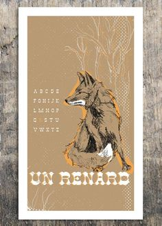 French Alphabet - Un Renard - Fox Print - by Bark Decor. $20.00, via Etsy.
