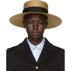 Wide-brimmed woven hat in metallic gold-tone. Bow featuring signature sculpted brass hardware at black grosgrain hat band. Logo patch at pink grosgrain brow band. Silk-blend lining in pink. Gucci Outfits, Love Hat, Streetwear Brands, Antique Gold, Grosgrain, Panama Hat, Women Accessories, Panama