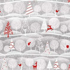 Holiday Frost by Henry Glass and Co, Christmas Fabric, Reindeer Fabric, 1 /2yard fabric on Etsy, £3.54
