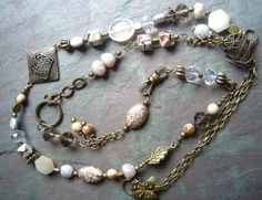 Natural Stone Necklace / Bead / Crystal / Antique Brass by FOLIOSA, $30.00