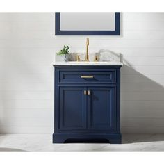 30 Vanity, Blue Vanity, Vanity Cabinet, Carrara Marble Countertop, Glass Sink, Thing 1, Free Interior Design, 30 And Single, Bath Remodel