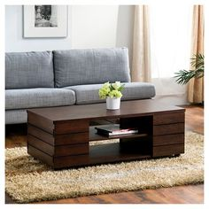 Furniture of America Pollins Vintage Walnut Coffee Table - Overstock Shopping - Great Deals on Furniture of America Coffee, Sofa & End Tables Coffee Table With Casters, Walnut Coffee Table, Coffee Table With Storage, Coffee Table Design, Coffee Tables, Coffee Box, Brown Coffee, Table Storage, White Coffee