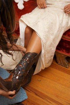 Wedding Cowgirl Boots   Desi Footwear: Bride having her Boots put underneath Wedding Dress