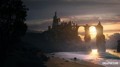 Twinrocks Fortress by taenaron castle city ocean bridge landscape location environment architecture | Create your own roleplaying game material w/ RPG Bard: www.rpgbard.com | Writing inspiration for Dungeons and Dragons DND D&D Pathfinder PFRPG Warhammer 40k Star Wars Shadowrun Call of Cthulhu Lord of the Rings LoTR + d20 fantasy science fiction scifi horror design | Not Trusty Sword art: click artwork for source