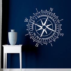 Compass Rose Wall Decal Vinyl Sticker North South West East- Nautical Compass Rose Wall Decals For Living Room Bedroom Nursery Wall Art C120