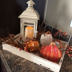 Fill a wooden tray with fall goodies for an eye catching centerpiece. Fall Table Centerpieces, Table Decorations, Thanksgiving Decorations, Seasonal Decor, Coffe Table Tray, Decorating Coffee Tables, Fall Decorating, Autumn Coffee, Autumn Crafts