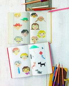 DIY cross stitched portraits - What a clever way to design your own cross stitch patterns!!! Why had I not thought of this before!?!