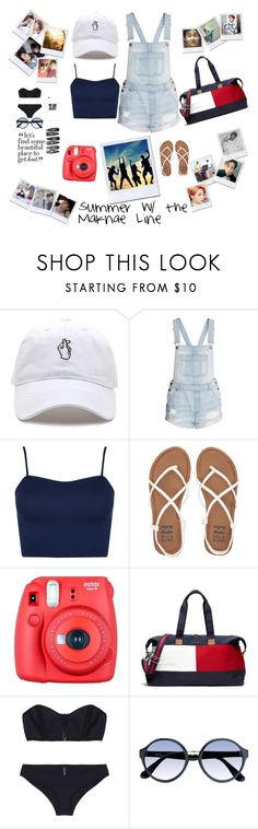 """""""Summer W/ the BTS Maknae Line"""" by pastelsandflowers ❤ liked on Polyvore featuring H&M, WearAll, Billabong, Fuji, Tommy Hilfiger, Lisa Marie Fernandez, RetroSuperFuture and Clips"""