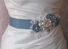 Dusty blue bridal sash - see more at http://themerrybride.org/2014/06/14/dusty-blue-wedding/