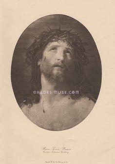 Crown Of Thorns-Jesus-Saviour-Blood Of Christ-Ecce Homo-GOD-Sorrow-Death-Crucify-Soul-Heaven-1914 Antique Vintage Art Print-Gothic Picture