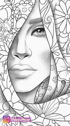 fashion zentangle girl art & girl zentangle art & zentangle art girl face & zentangle art girl drawings & zentangle art of girl & zentangle art girl dress & zentangle art girl illustrations & zentangle art girl hand drawn & fashion zentangle girl art Outline Drawings, Pencil Art Drawings, Art Drawings Sketches, Girl Drawings, Coloring Book Pages, Printable Coloring Pages, Coloring Sheets, African Art Paintings, Creation Art