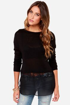 Coffee Run Black Sweater Top at LuLus.com!
