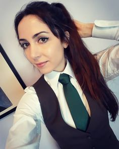 """Claire on Instagram: """"OMG you guys I just got my first tailored shirt, and I'm never going back to off-the-rack!!! It's so beautiful, comfortable, and actually…"""" Women Wearing Ties, Women Ties, Tailored Shirts, Beautiful Girl Photo, White Shirts, Girl Photos, Claire, Vest, Guys"""
