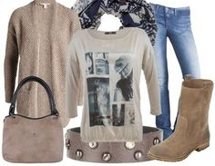 Casual outfit Beige blue