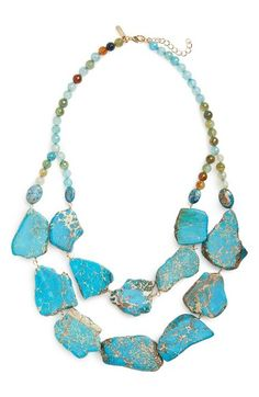 Panacea Double Row Agate Statement Necklace available at #Nordstrom