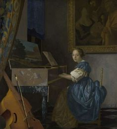 A Lady Seated at a Virginal by Johannes Vermeer  Date of Creation: 1670