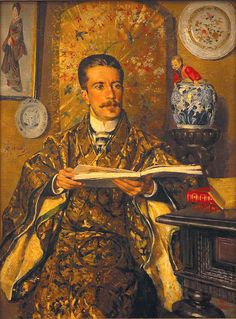 Portrait of Abel Botelho by António Ramalho (Portuguese was a Portugese Diplomat and writer.his style and Oriental interior decoration was at the very height of fashion at this time. Portrait Images, Portraits, Manet, Chinoiserie, Renoir Paintings, Art Ancien, Western Art, Art World, Japanese Art