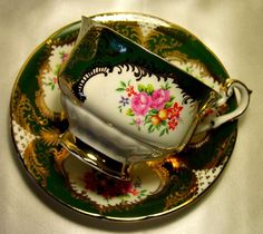 Paragon Cabinet Tea Cup & Saucer ~ Floral Bouquets on Hunter Green