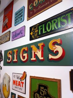 collection of hand-lettered signs