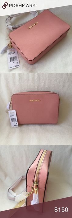 "MK Large Pale Pink Crossbody NWT, authenticity guaranteed!  - pale pink color  - top zip closure - interior features 3 slip pockets  - approx. 9(L) x 6(H) x 2(D)"" - 25.5"" adjustable strap drop - gold tone hardware Michael Kors Bags Crossbody Bags"