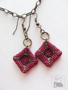 Handmade radiant orchid  silk crochet earrings by ShopDeLorai, $12.00