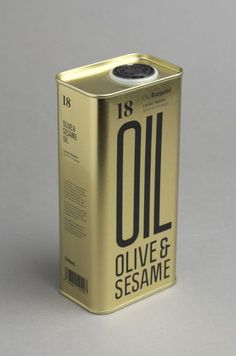 Packaging with condensed sans-serif typography and gold tin for Olive & Sesame Oil designed by Lo Siento Olive Oil Packaging, Bottle Packaging, Print Packaging, Food Packaging, Simple Packaging, Product Packaging, Retro Packaging, Coffee Packaging, Cosmetic Packaging