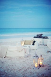 Style Me Pretty | GALLERY & INSPIRATION | GALLERY: 9320 | PAGE: 2 - Love the simple covers for the beach furniture and lanterns
