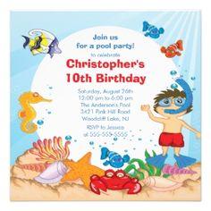 under the sea birthday invitations | left: Under the Sea Pool Party Birthday Invitation boy by ...