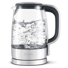 Great tasting tea starts with clear, clean water. The large capacity Crystal Clear Electric Water Boiler from Breville is made of German SCHOTT glass which will impart no taste to the water. This kettle's high power 1800 watts means faster boiling.