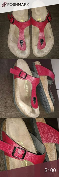 Red Gizeh Birkenstock Eccellent Conditionndition 39 250 Birkenstock they are in excellent condition, Barley even a foot print yet, they have an adjustable strap super comfortable. Leather straps are candy apple red. Birkenstock Shoes Sandals