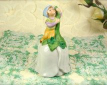 Sweet Little Vintage Porcelain Flower Collectible Bell With Tiny Elf by Avon