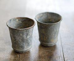 Pair of Vintage Zinc French Pots