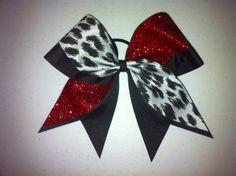 Replace the cheetah print with dalmatian print ribbon and this would be a great Cruela De Vile bow! Cheer Coaches, Cheer Stunts, Softball Bows, Cheer Bows, Cool Things To Make, Girly Things, Printed Ribbon, Sunday School Crafts, Making Hair Bows