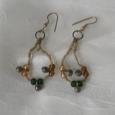Gold and Green Beaded with Hindu Bells Pierced by MagickalArtisan, $10.00