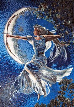 Goddess Diana Marble Mosaic  The Huntress arises and points her arrow silhouetted by a Blue Moon.