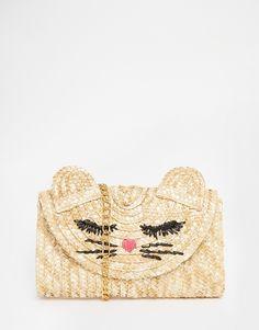 Straw Cat Clutch Bag