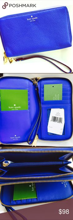 "💙Kate Spade $168 Tiera Blue Zip Around Wallet 💙Kate Spade Tiera Grey Street Wristlet Wallet Pocket Book ▪️NWT MSRP $168 💙 Island Deep 447 ▪️Gold hardware/Soft pebbles textured leather 💙Double zip around compartments ▪️Interior Features 10 card slots, multiplayer full length bill compartments, and 1 ID window 💙 7""L x 4.25""H x 1""W ♠️100% Authentic, like all my other items! 🎀Please check out my other designer bargains from Michael Kors, DAVID YURMAN, TIFFANY & Co, Kate Spade, Coach etc…"